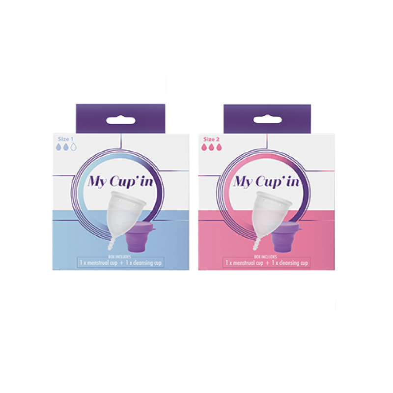 My Cup'in menstrual cup and cleansing cup size 1 & 2 medium and heavy flow